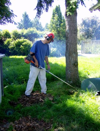 a man uses a weed eater