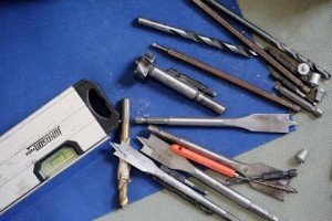 drill bits and a spirit level